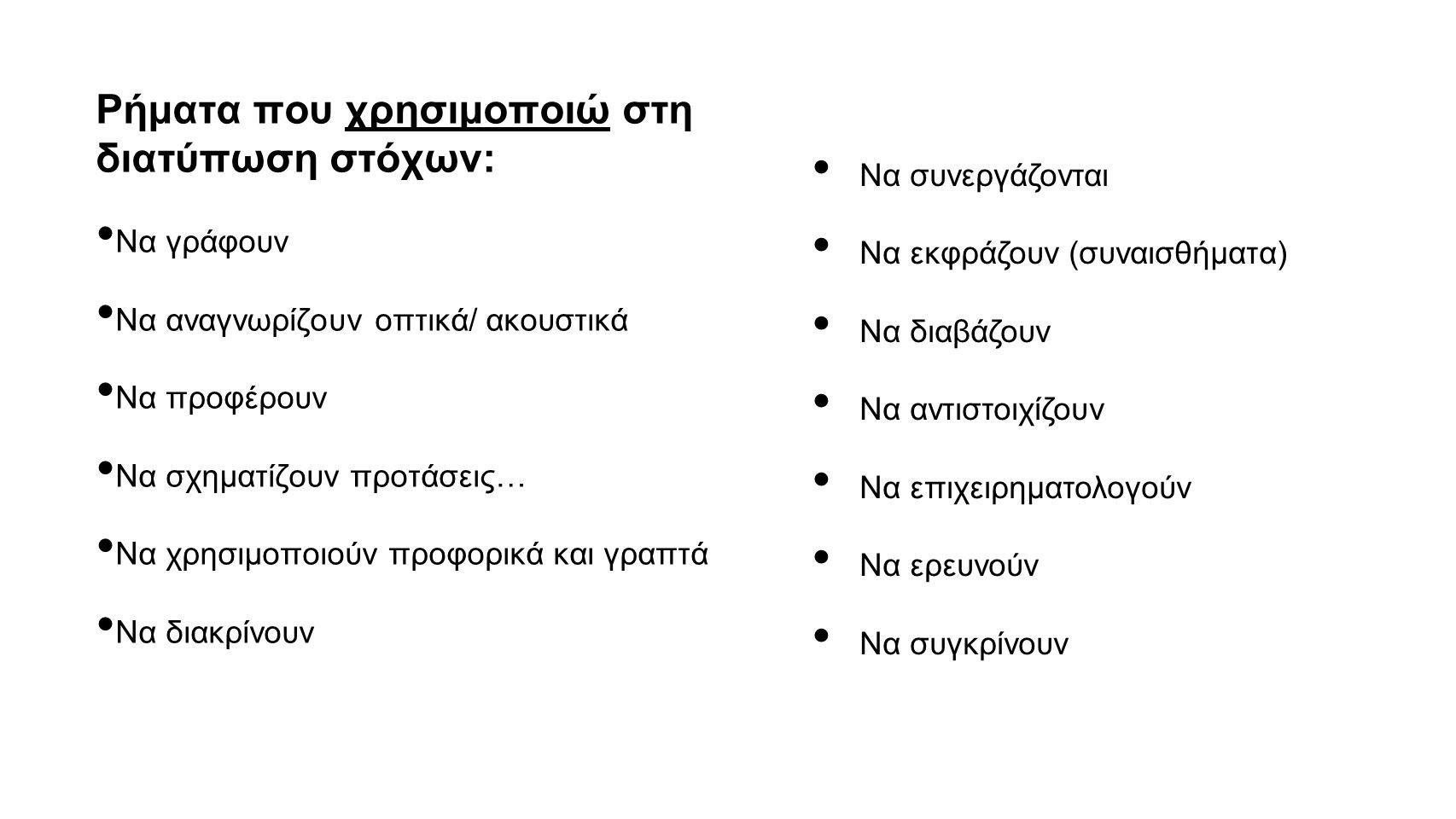 Ρήματα που χρησιμοποιώ στη διατύπωση στόχων:
