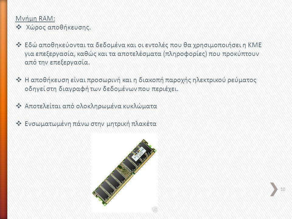 Μνήμη RAM: Χώρος αποθήκευσης.