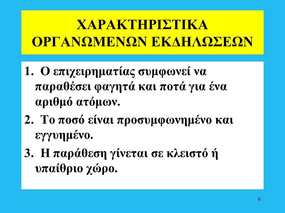 ΧΑΡΑΚΤΗΡΙΣΤΙΚΑ ΟΡΓΑΝΩΜΕΝΩΝ ΕΚΔΗΛΩΣΕΩΝ