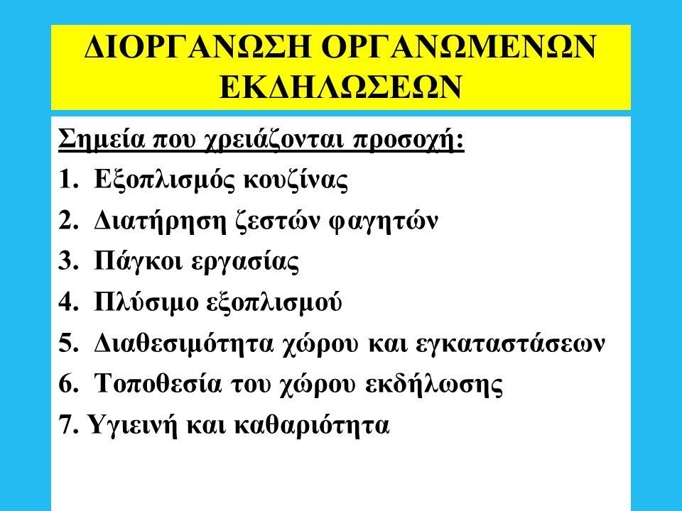 ΔΙΟΡΓΑΝΩΣΗ ΟΡΓΑΝΩΜΕΝΩΝ ΕΚΔΗΛΩΣΕΩΝ