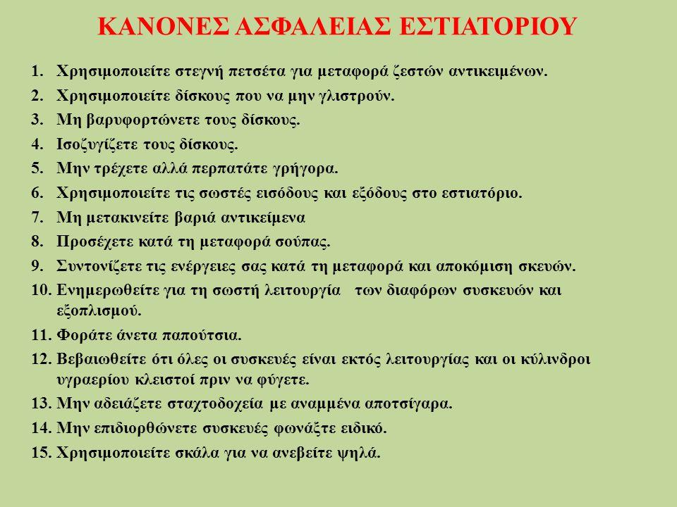 ΚΑΝΟΝΕΣ ΑΣΦΑΛΕΙΑΣ ΕΣΤΙΑΤΟΡΙΟΥ