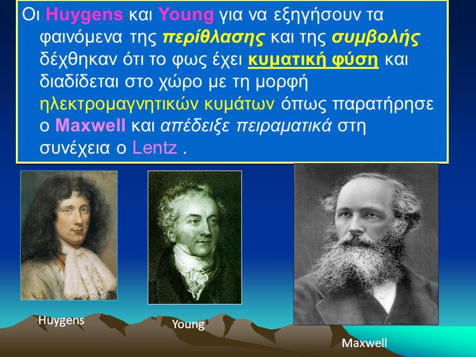 Οι Huygens και Young για να εξηγήσουν τα φαινόμενα της περίθλασης και της συμβολής δέχθηκαν ότι το φως έχει κυματική φύση και διαδίδεται στο χώρο με τη μορφή ηλεκτρομαγνητικών κυμάτων όπως παρατήρησε ο Maxwell και απέδειξε πειραματικά στη συνέχεια ο Lentz .