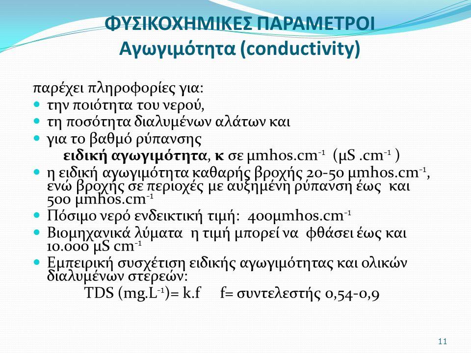 ΦΥΣΙΚΟΧΗΜΙΚΕΣ ΠΑΡΑΜΕΤΡΟΙ Αγωγιμότητα (conductivity)