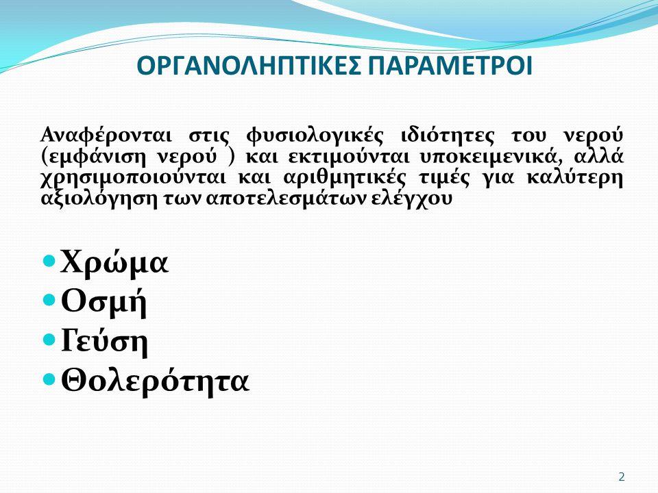 ΟΡΓΑΝΟΛΗΠΤΙΚΕΣ ΠΑΡΑΜΕΤΡΟΙ