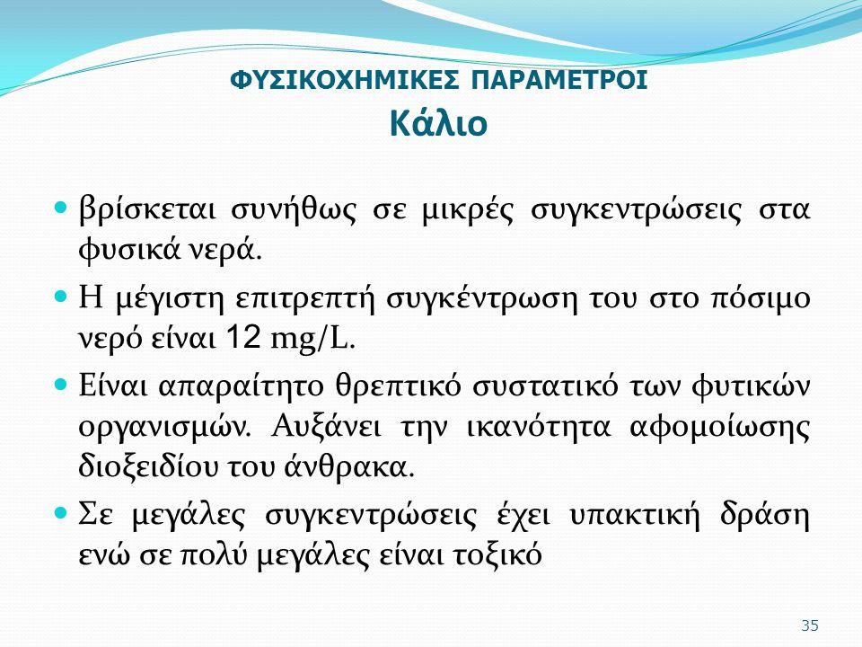 ΦΥΣΙΚΟΧΗΜΙΚΕΣ ΠΑΡΑΜΕΤΡΟΙ Κάλιο