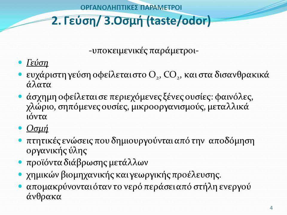 ΟΡΓΑΝΟΛΗΠΤΙΚΕΣ ΠΑΡΑΜΕΤΡΟΙ 2. Γεύση/ 3.Οσμή (taste/odor)