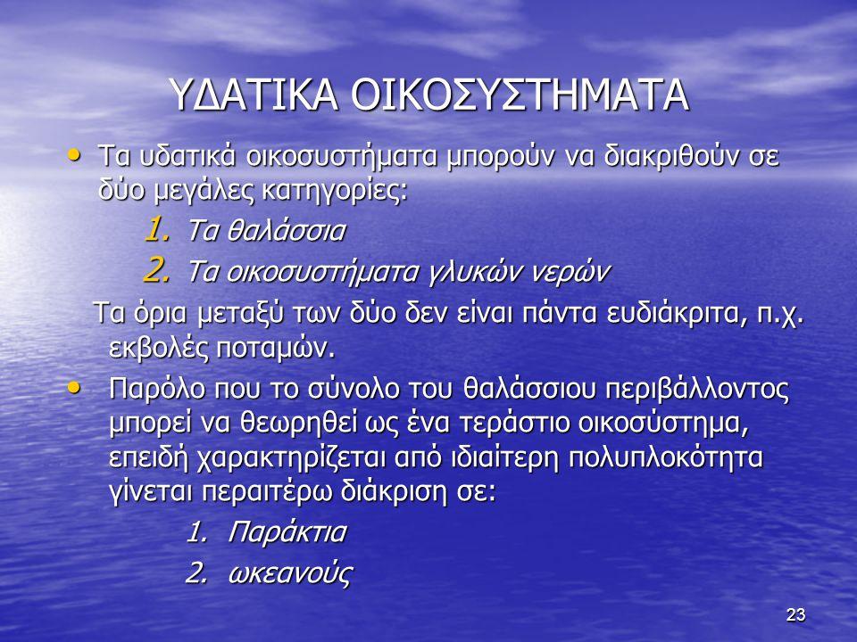 ΥΔΑΤΙΚΑ ΟΙΚΟΣΥΣΤΗΜΑΤΑ