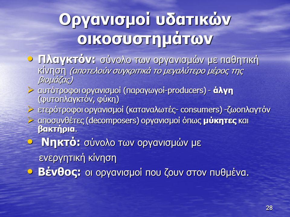 Οργανισμοί υδατικών οικοσυστημάτων
