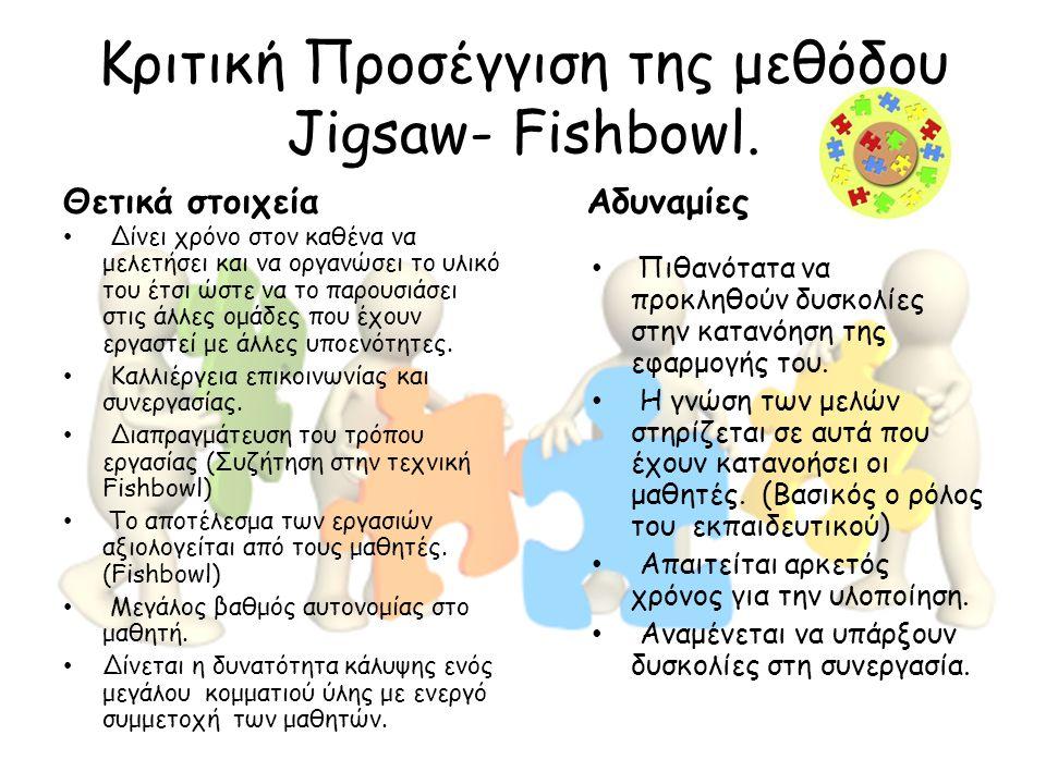 Κριτική Προσέγγιση της μεθόδου Jigsaw- Fishbowl.