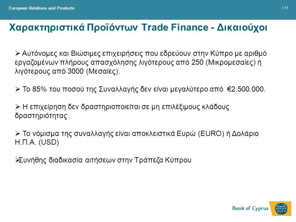 Χαρακτηριστικά Προϊόντων Trade Finance - Δικαιούχοι