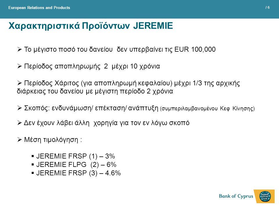 Χαρακτηριστικά Προϊόντων JEREMIE