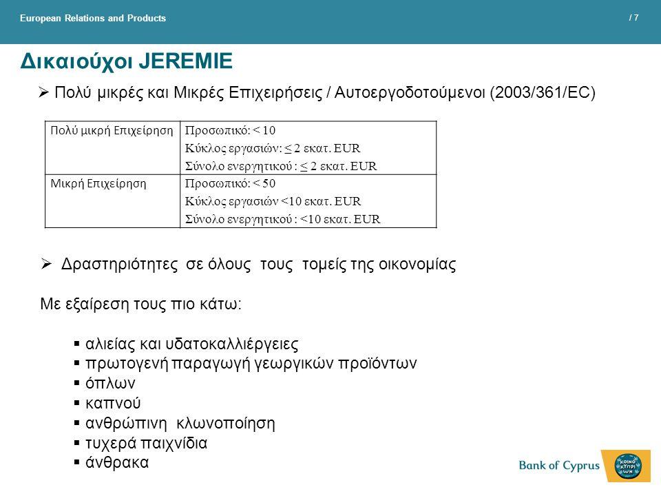 Δικαιούχοι JEREMIE Πολύ μικρές και Μικρές Eπιχειρήσεις / Aυτοεργοδοτούμενοι (2003/361/EC) Πολύ μικρή Επιχείρηση.