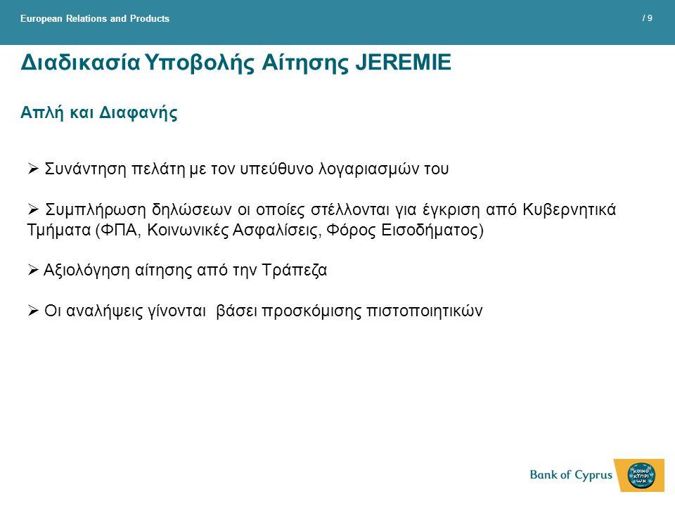 Διαδικασία Υποβολής Αίτησης JEREMIE Απλή και Διαφανής