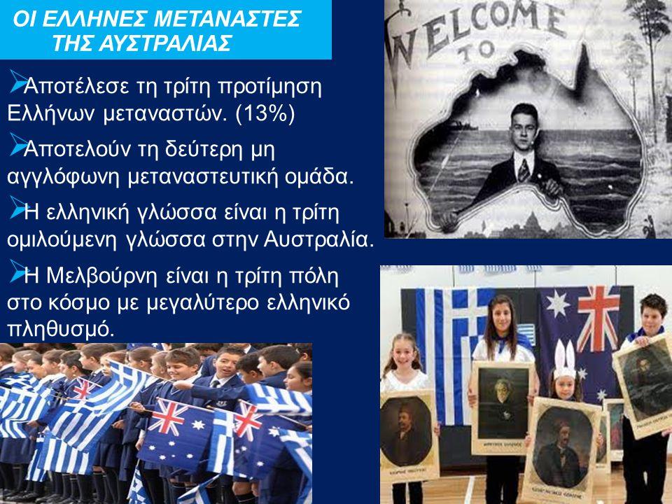 Αποτέλεσε τη τρίτη προτίμηση Ελλήνων μεταναστών. (13%)