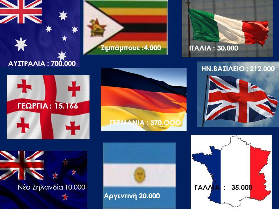 ΓΕΩΡΓΙΑ : 15.166 Ζιμπάμπουε :4.000 ITAΛΙΑ : 30.000 ΑΥΣΤΡΑΛΙΑ : 700.000