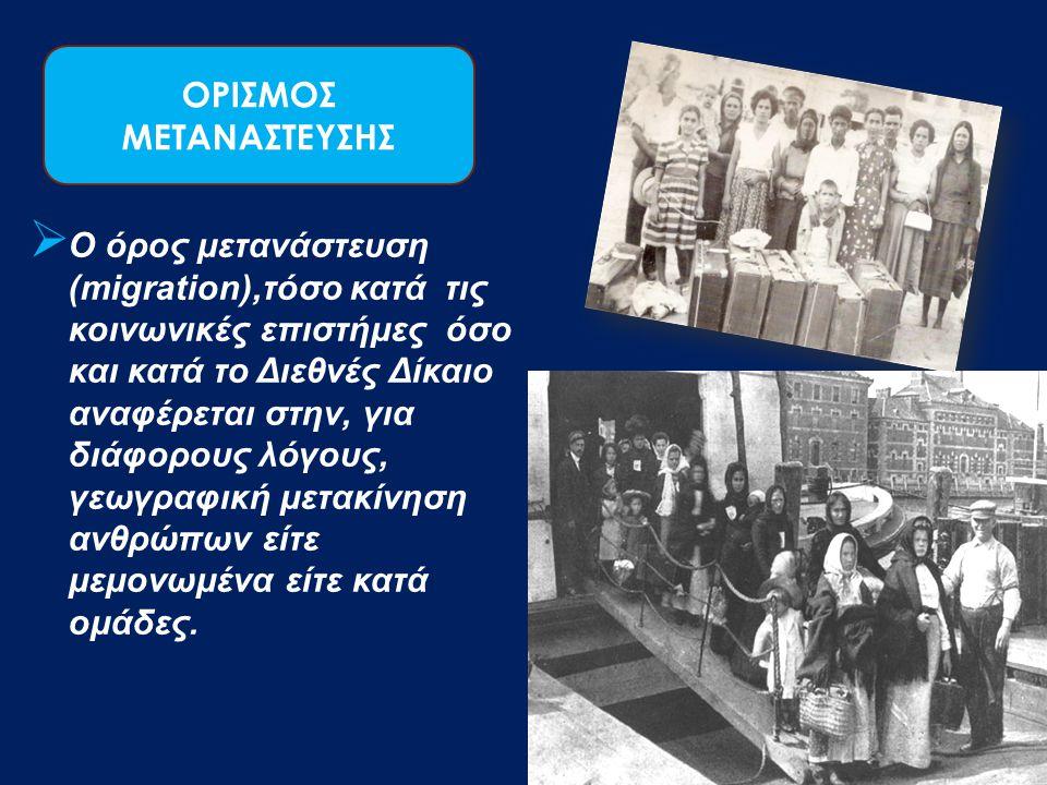 ΟΡΙΣΜΟΣ ΜΕΤΑΝΑΣΤΕΥΣΗΣ