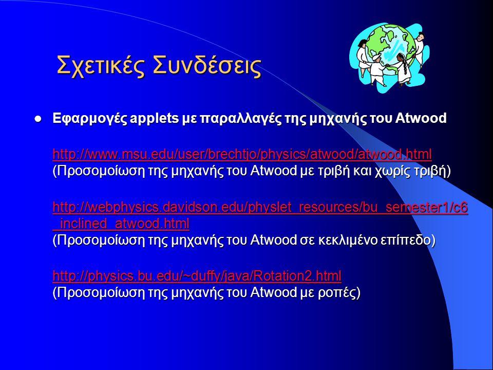 Σχετικές Συνδέσεις Εφαρμογές applets με παραλλαγές της μηχανής του Atwood.