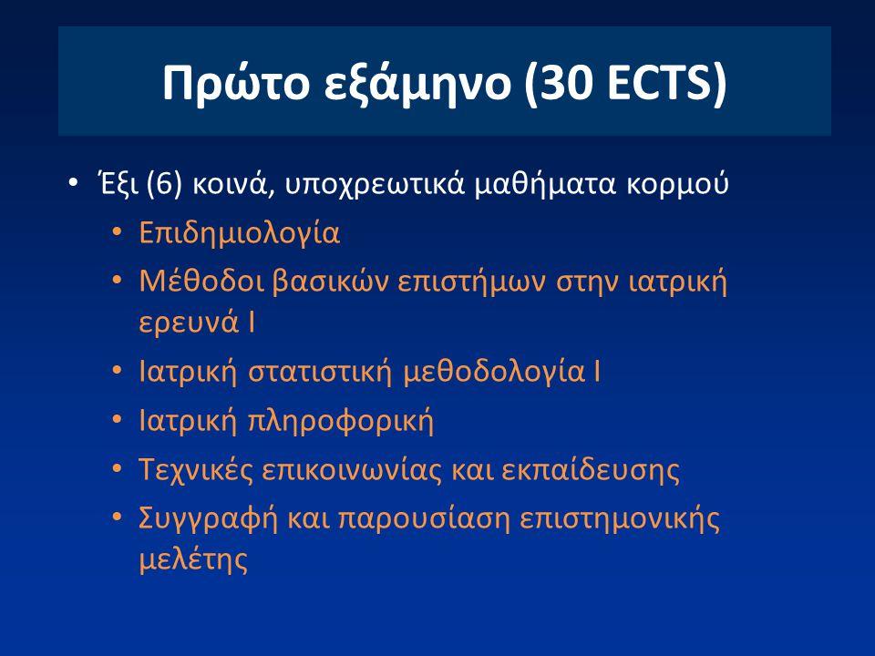 Πρώτο εξάμηνο (30 ECTS) Έξι (6) κοινά, υποχρεωτικά μαθήματα κορμού