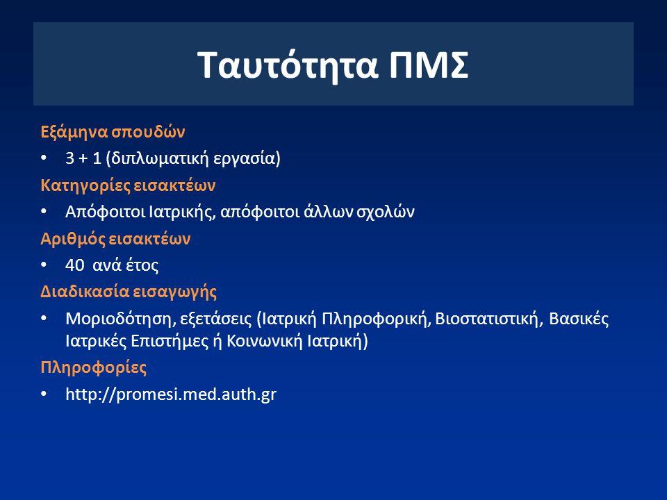 Ταυτότητα ΠΜΣ Εξάμηνα σπουδών 3 + 1 (διπλωματική εργασία)