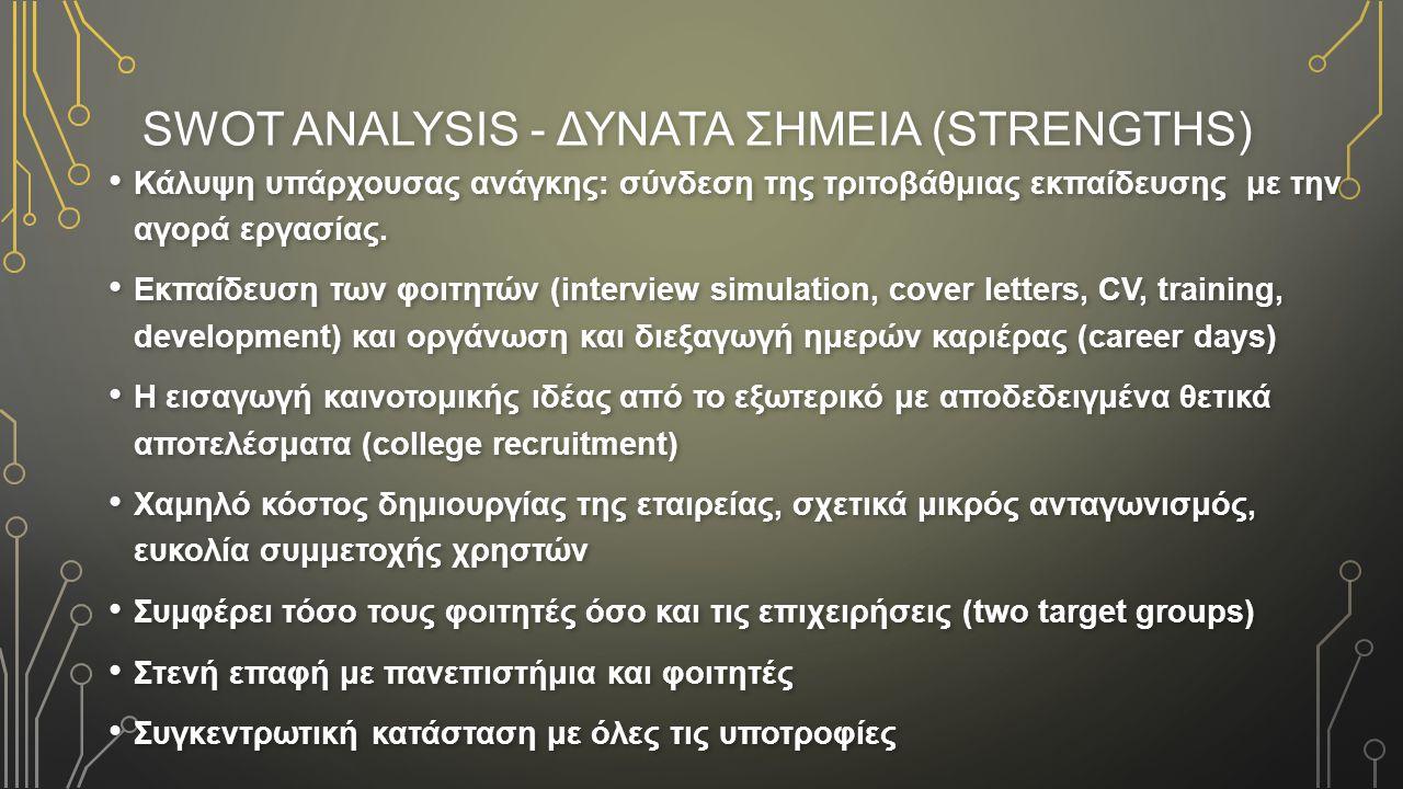 SWOT ANALYSIS - ΔΥΝΑΤΑ ΣΗΜΕΙΑ (STRENGTHS)