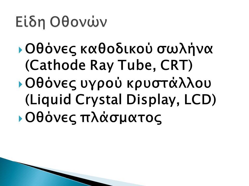 Είδη Οθονών Οθόνες καθοδικού σωλήνα (Cathode Ray Tube, CRT)