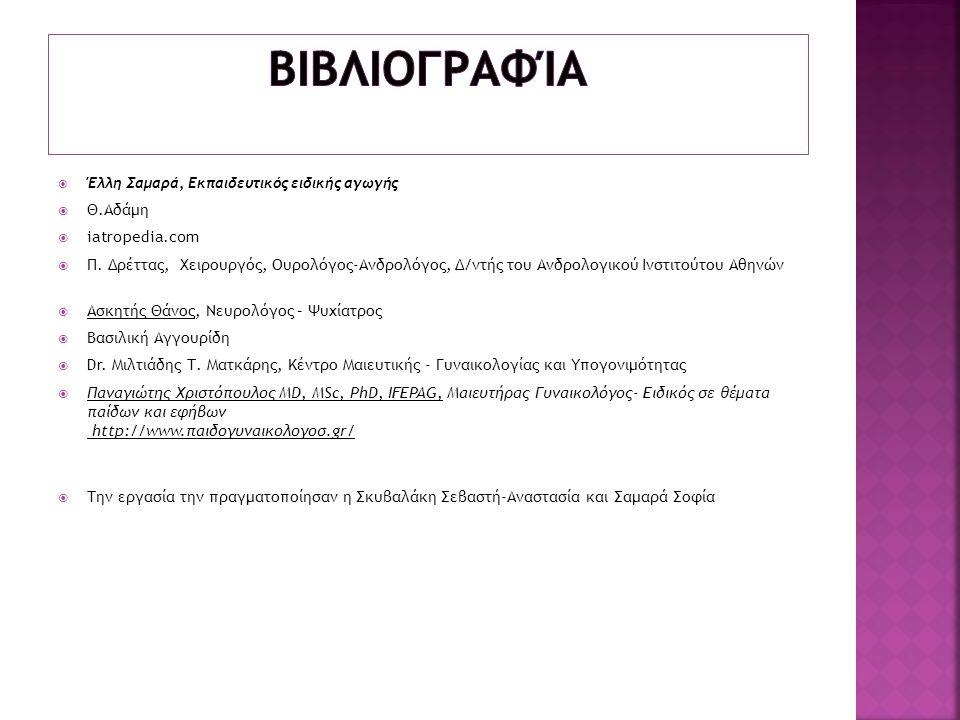 Βιβλιογραφία Θ.Αδάμη iatropedia.com