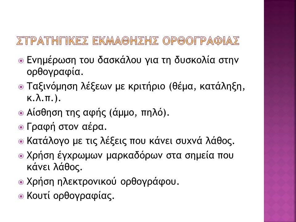 ΣΤΡΑΤΗΓΙΚΕΣ ΕΚΜΑΘΗΣΗΣ ΟΡΘΟΓΡΑΦΙΑΣ