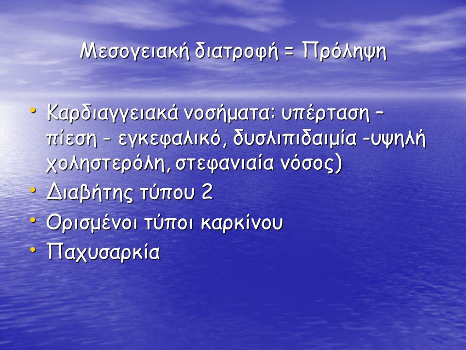 Μεσογειακή διατροφή = Πρόληψη