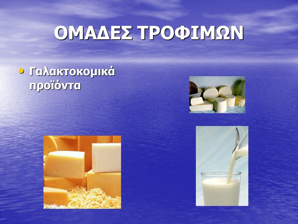 ΟΜΑΔΕΣ ΤΡΟΦΙΜΩΝ Γαλακτοκομικά προϊόντα