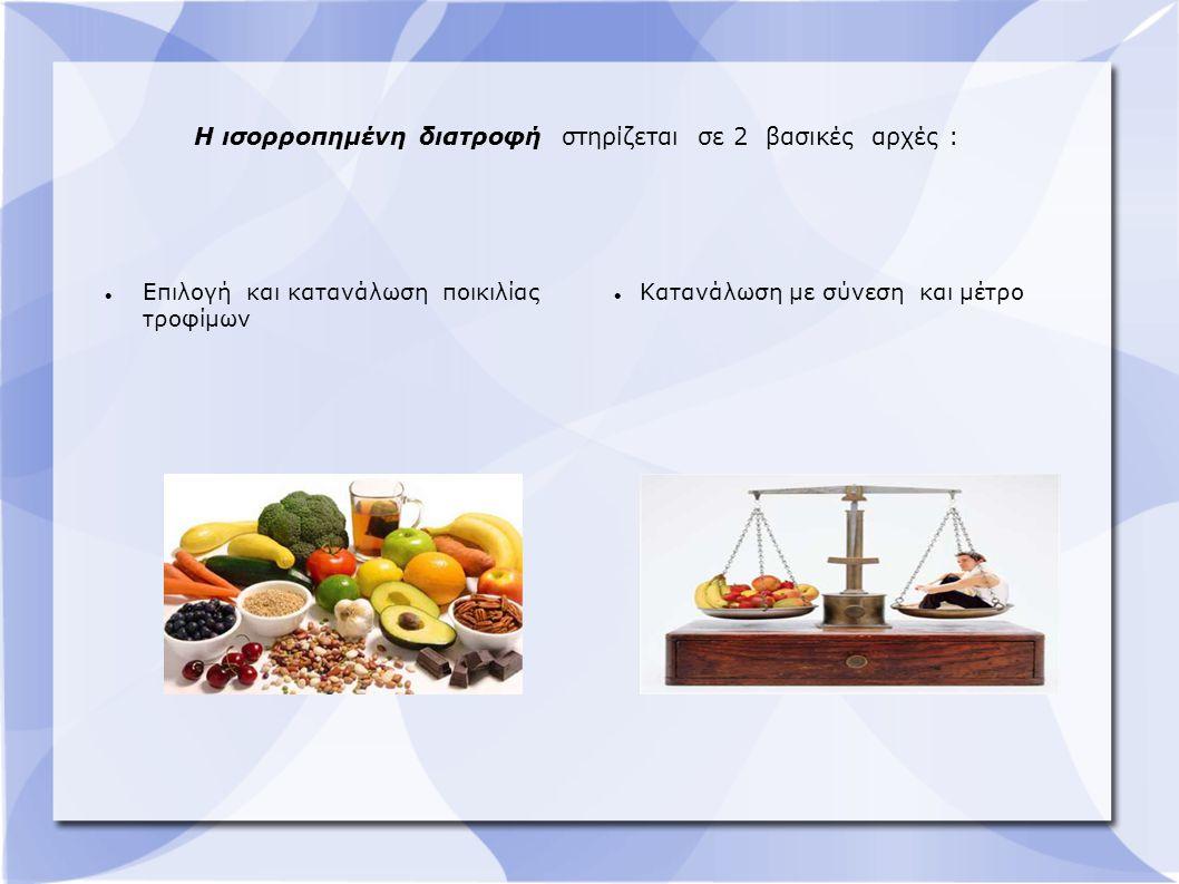 Η ισορροπημένη διατροφή στηρίζεται σε 2 βασικές αρχές :