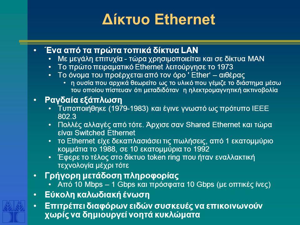 Δίκτυο Ethernet Ένα από τα πρώτα τοπικά δίκτυα LAN Ραγδαία εξάπλωση