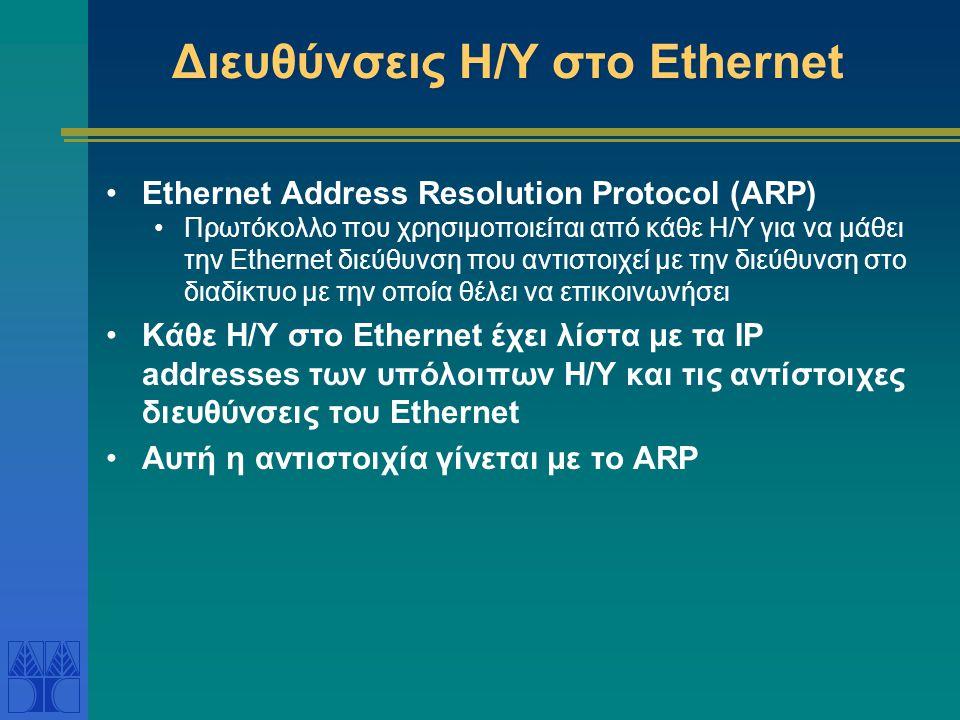 Διευθύνσεις Η/Υ στο Ethernet
