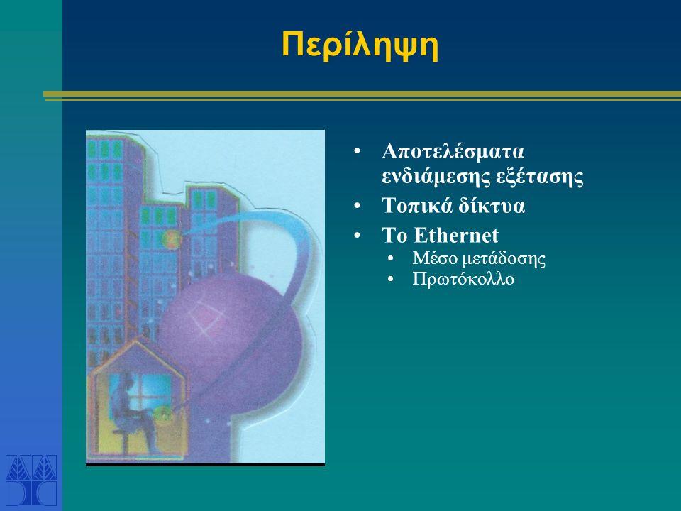 Περίληψη Αποτελέσματα ενδιάμεσης εξέτασης Τοπικά δίκτυα Το Ethernet