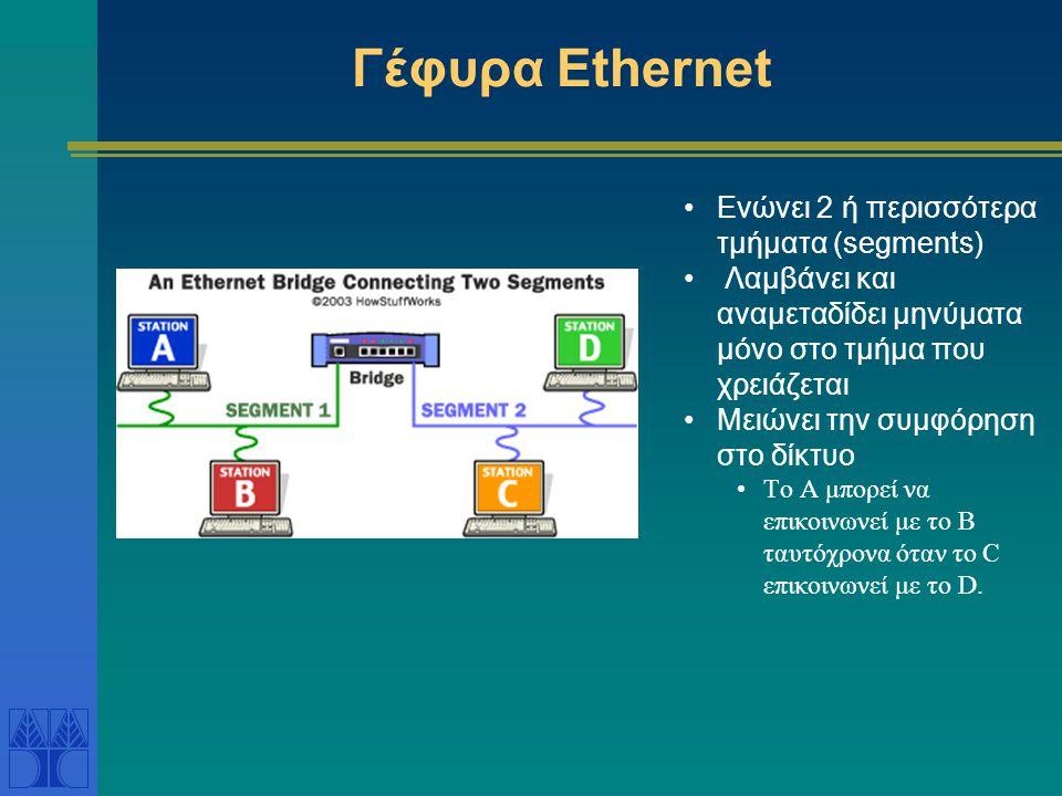 Γέφυρα Ethernet Ενώνει 2 ή περισσότερα τμήματα (segments)