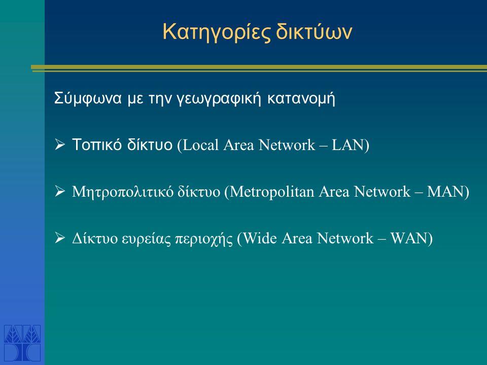 Κατηγορίες δικτύων Σύμφωνα με την γεωγραφική κατανομή