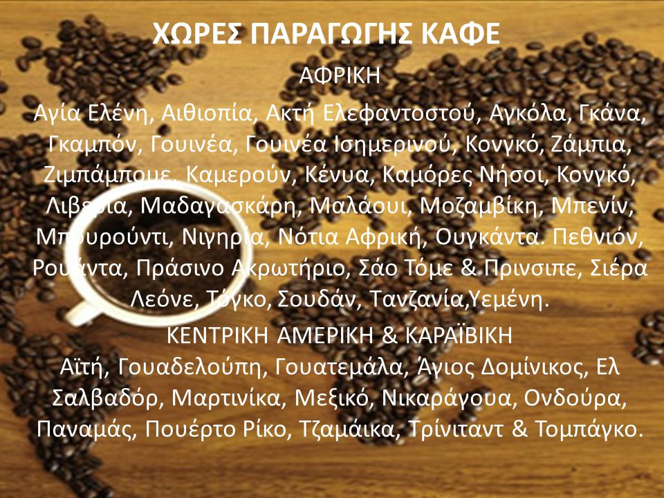 ΧΩΡΕΣ ΠΑΡΑΓΩΓΗΣ ΚΑΦΕ ΑΦΡΙΚΗ