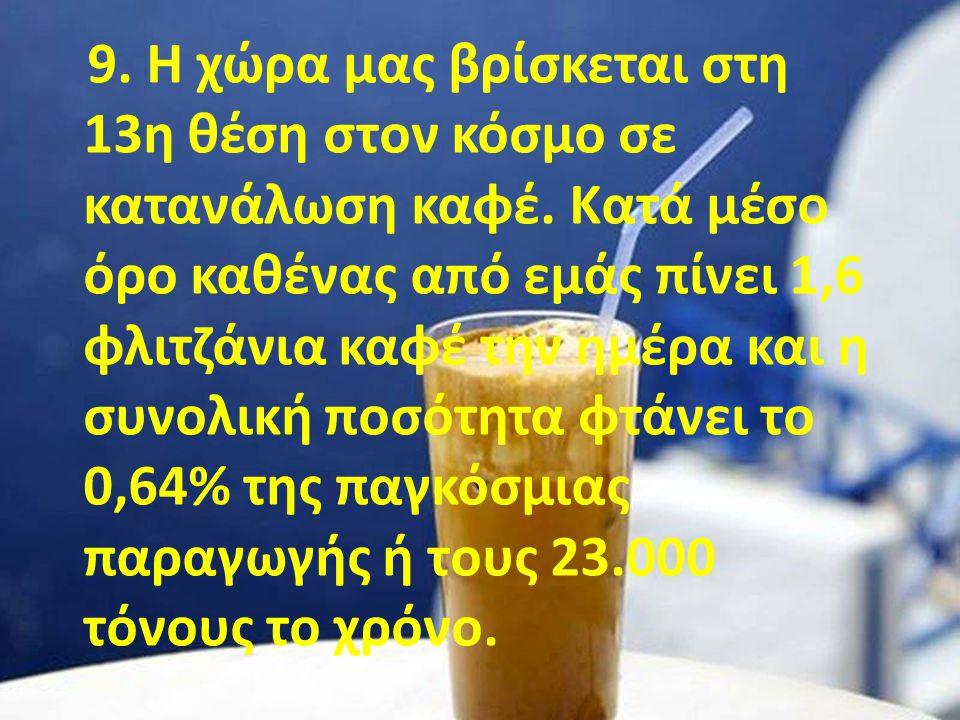 9. Η χώρα μας βρίσκεται στη 13η θέση στον κόσμο σε κατανάλωση καφέ
