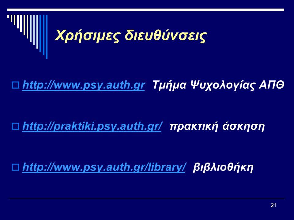 Χρήσιμες διευθύνσεις http://www.psy.auth.gr Τμήμα Ψυχολογίας ΑΠΘ