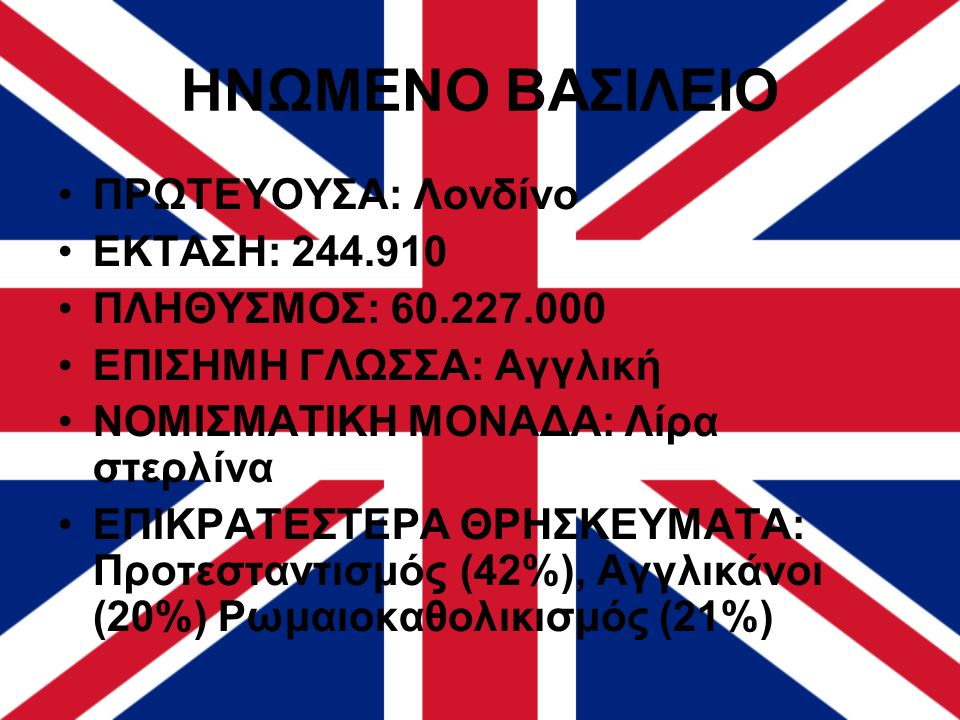 ΗΝΩΜΕΝΟ ΒΑΣΙΛΕΙΟ ΠΡΩΤΕΥΟΥΣΑ: Λονδίνο ΕΚΤΑΣΗ: 244.910