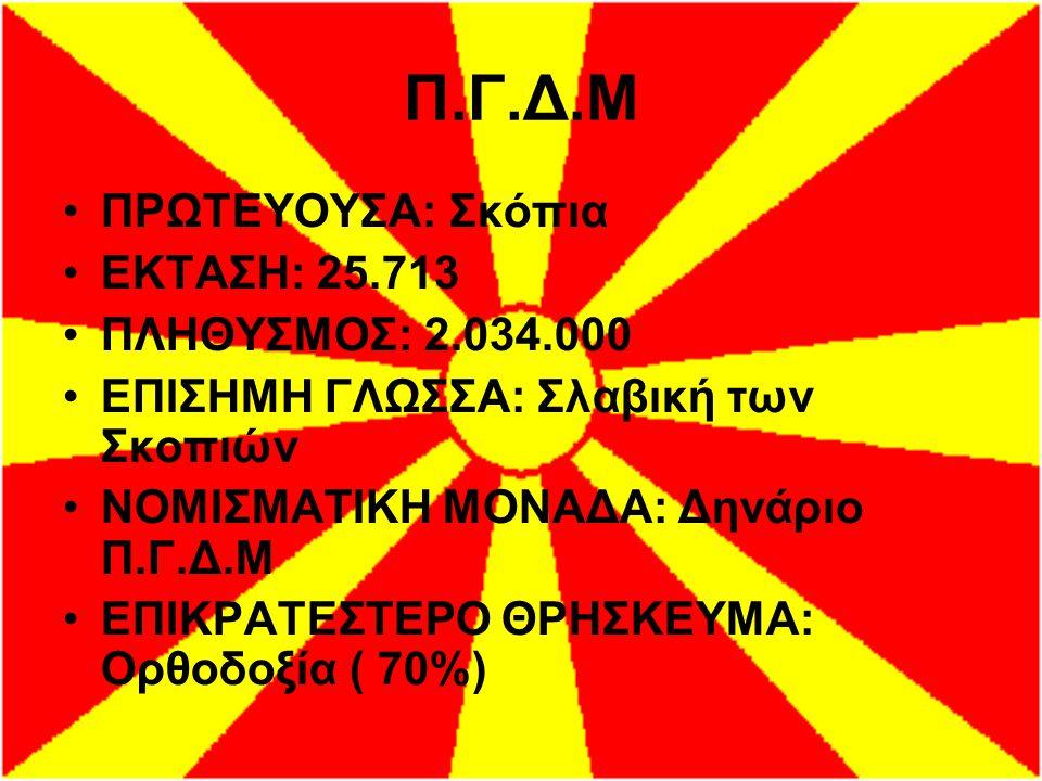 Π.Γ.Δ.Μ ΠΡΩΤΕΥΟΥΣΑ: Σκόπια ΕΚΤΑΣΗ: 25.713 ΠΛΗΘΥΣΜΟΣ: 2.034.000