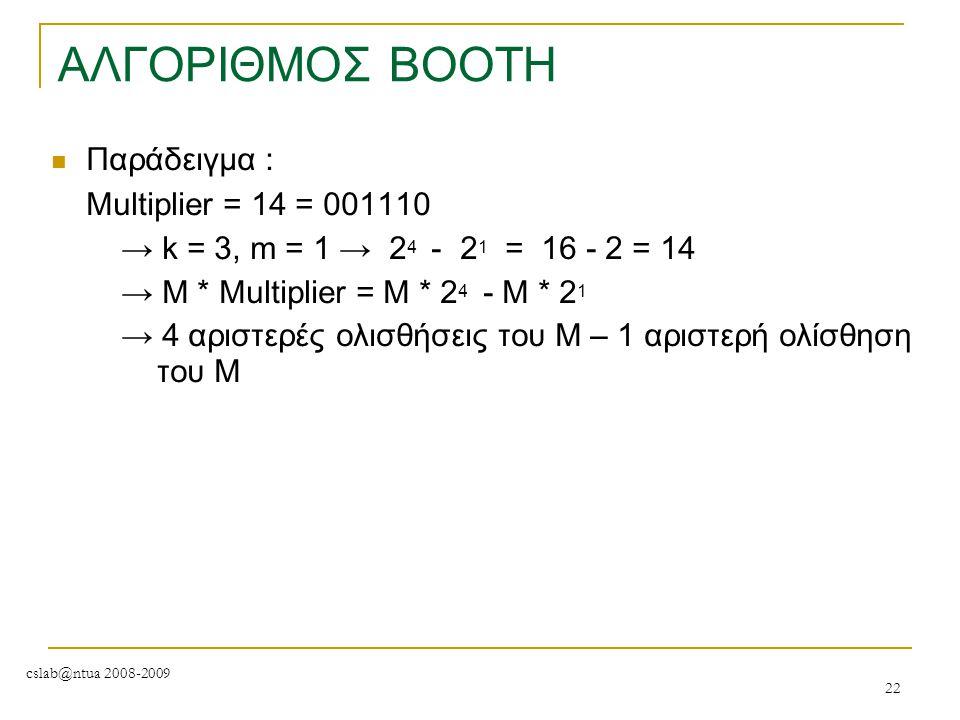 ΑΛΓΟΡΙΘΜΟΣ BOOTH Παράδειγμα : Μultiplier = 14 = 001110
