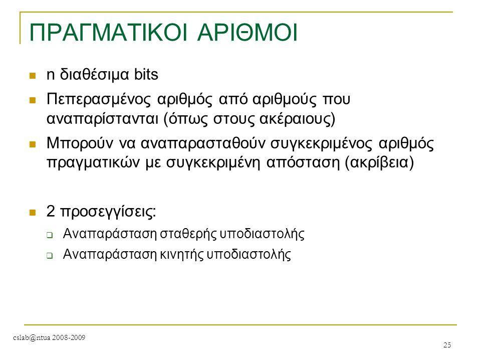 ΠΡΑΓΜΑΤΙΚΟΙ ΑΡΙΘΜΟΙ n διαθέσιμα bits