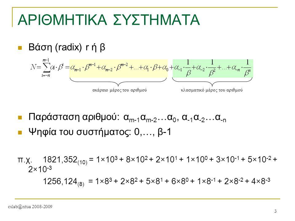 ΑΡΙΘΜΗΤΙΚΑ ΣΥΣΤΗΜΑΤΑ Βάση (radix) r ή β
