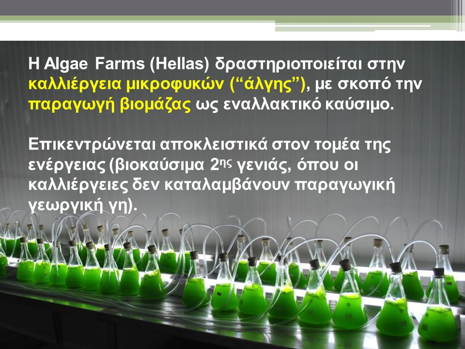 Η Algae Farms (Hellas) δραστηριοποιείται στην καλλιέργεια μικροφυκών ( άλγης ), με σκοπό την παραγωγή βιομάζας ως εναλλακτικό καύσιμο. Επικεντρώνεται αποκλειστικά στον τομέα της ενέργειας (βιοκαύσιμα 2ης γενιάς, όπου οι καλλιέργειες δεν καταλαμβάνουν παραγωγική γεωργική γη).