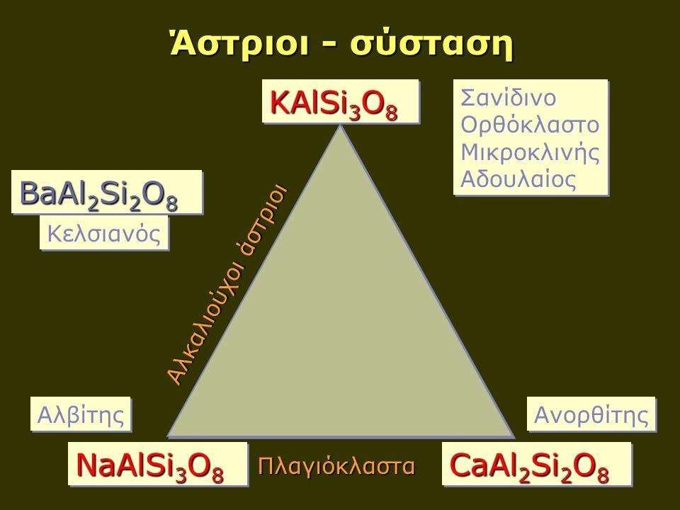 Άστριοι - σύσταση KAlSi3O8 BaAl2Si2O8 NaAlSi3O8 CaAl2Si2O8 Σανίδινο