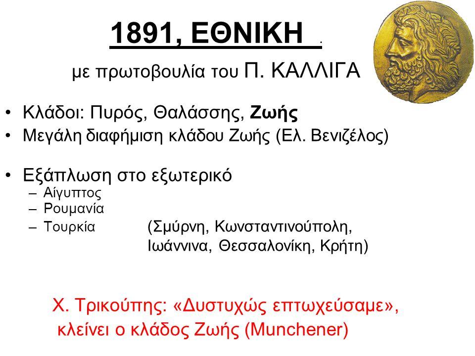1891, ΕΘΝΙΚΗ . με πρωτοβουλία του Π. ΚΑΛΛΙΓΑ