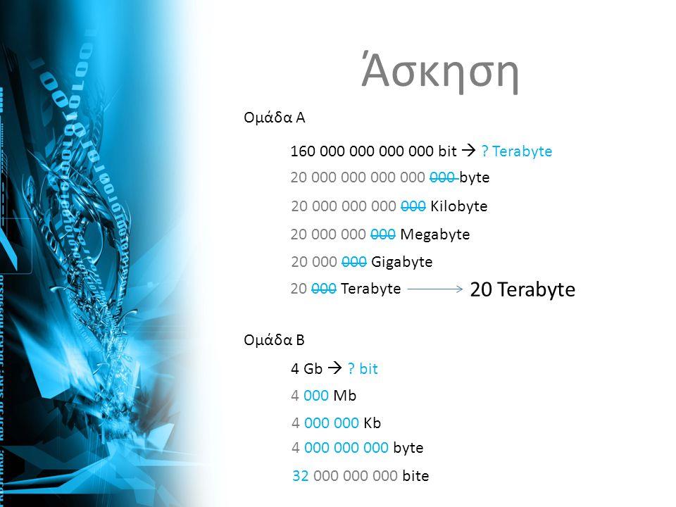 Άσκηση 20 Terabyte Ομάδα Α 160 000 000 000 000 bit  Terabyte