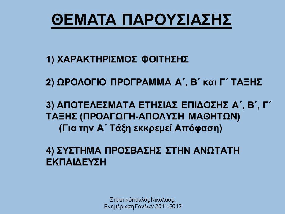 Στρατικόπουλος Νικόλαος, Ενημέρωση Γονέων 2011-2012