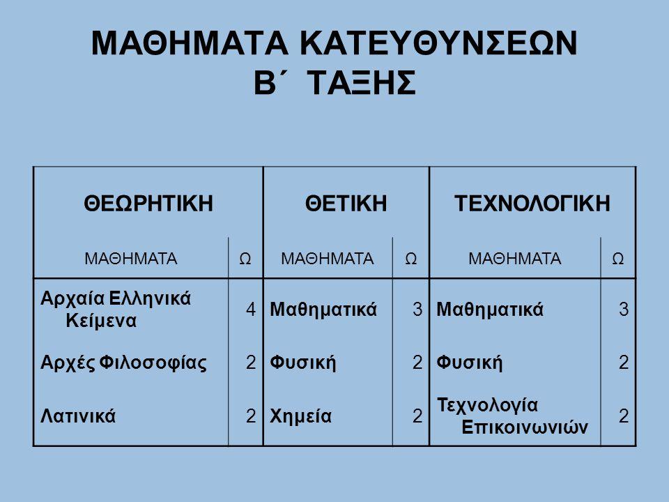 ΜΑΘΗΜΑΤΑ ΚΑΤΕΥΘΥΝΣΕΩΝ Β΄ ΤΑΞΗΣ