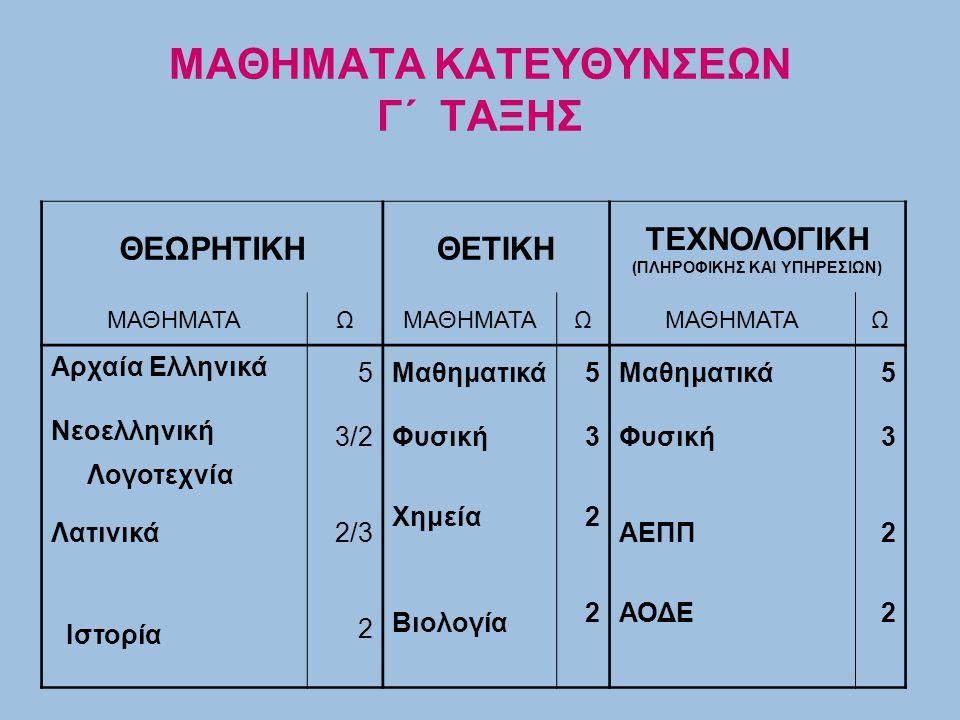 ΜΑΘΗΜΑΤΑ ΚΑΤΕΥΘΥΝΣΕΩΝ Γ΄ ΤΑΞΗΣ